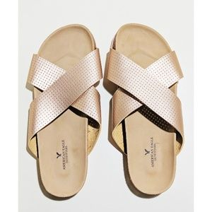 AEO Rose Gold Slides / Sandals